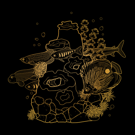 arowana: Graphic aquarium fish with coral reef drawn in line art style. Isolated underwater scenery in golden colors.