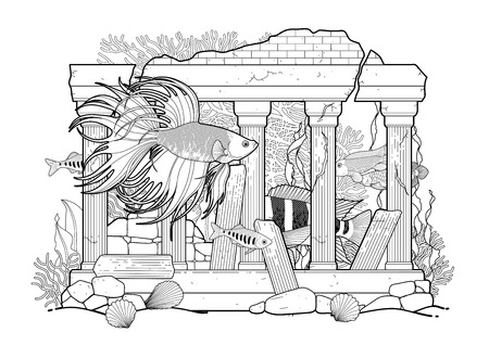 Graphic aquarium fish with architectural sculpture drawn in line art style. Under water scenery isolated on the white background. Coloring book page design for adults and kids. Illustration