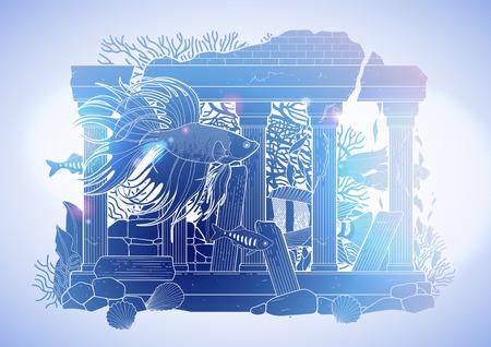 escultura romana: peces de acuario gráfica con la escultura arquitectónica dibujado en el estilo de la línea de arte. Aislados, en un paisaje de agua en colores azules. arquitectura romana antigua.