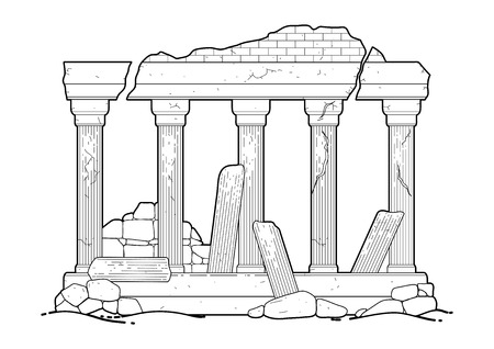 Graphic half-ruined architecture with column drawn in line art style. Ancient building isolated on the white background in black colors. Coloring book page design for adults and kids.