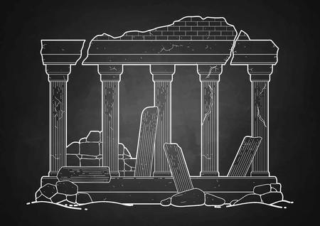doric: Graphic half-ruined architecture with column drawn in line art style. Ancient building isolated on the chalkboard.