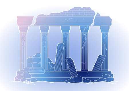 doric: Graphic half-ruined architecture with column drawn in line art style. Ancient building isolated on the white background in blue colors.