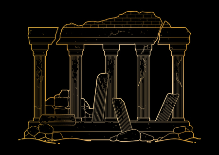 Graphic half-ruined architecture with column in line art style. Ancient building isolated on the black background in golden colors. Illustration