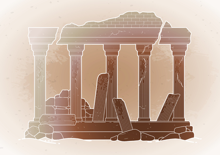 Graphic half-ruined architecture with column in line art style. Ancient building isolated on the vintage background in ocher colors.