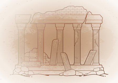 Graphic half-ruined Roman architecture with column in line art style. Ancient building isolated on the vintage background in ocher colors. Stock Illustratie