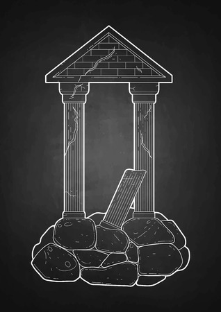 ancient roman: Graphic half-ruined Roman architecture with column in line art style. Ancient building isolated on the chalkboard. Illustration