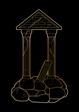 roman pillar: Graphic half-ruined architecture with column in line art style. Ancient building isolated on the black background in golden colors. Illustration