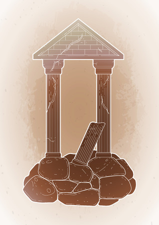roman pillar: Graphic half-ruined architecture with column in line art style. Ancient building isolated on the vintage background in ocher colors.