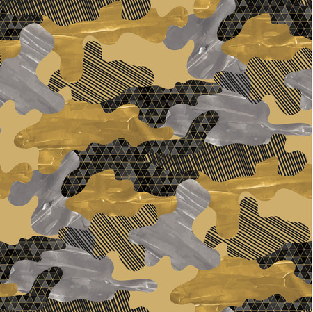 dazzle: Abstract camouflage seamless pattern. Trendy fabric design in black, silver and golden colors with acrylic texture. Illustration