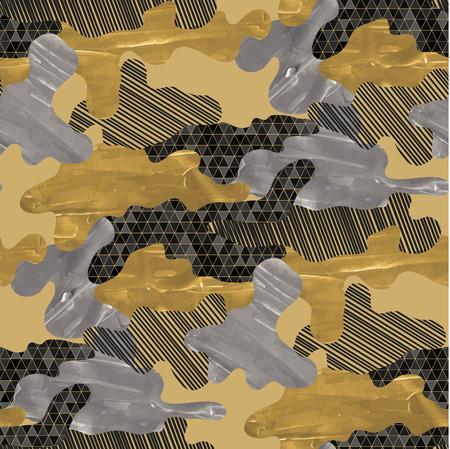 Seamless pattern camouflage senza soluzione di continuità. Design trendy in tessuto nero, argento e dorato con struttura in acrilico. Vettoriali