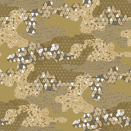 dazzle: Abstract camouflage seamless pattern. Trendy fabric design in golden colors. Illustration
