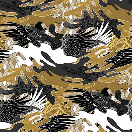 Abstract camouflage pattern. la conception de tissus à la mode dans les couleurs noir, blanc et or avec une texture acrylique. Les ailes et les éclaboussures.