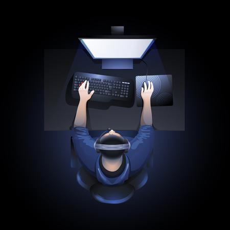 Jonge man aan de tafel zitten en het spelen van de computer. Bovenaanzicht. Cyber ??sport concept. Stockfoto - 65741022