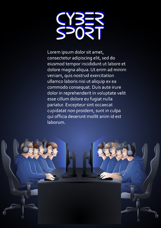 major battle: Two teams of five players sitting at the table opposite each other. Side view. Vector participants of cyber sport tournament