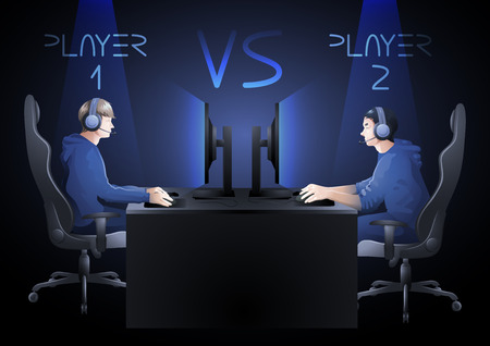 to the other side: Two computer players sitting at the table opposite each other. Side view. Vector participants of cyber sport tournament