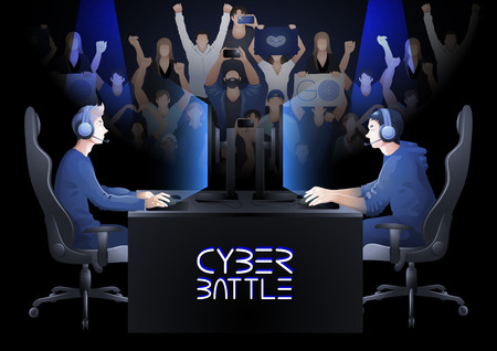 Two computer players opposite each other with a crowd of cheering fans. Side view. Vector participants of cyber sport tournament
