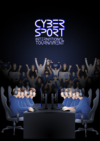 Two teams of five players sitting at the table opposite each other with a crowd of cheering fans. Side view. Vector participants of cyber sport tournament