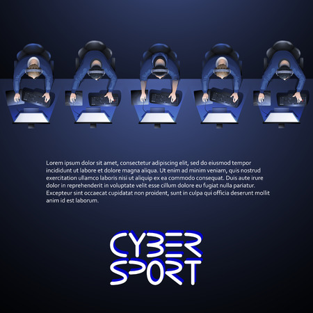 Line of game players sitting at the desk in front of computer. Top view. Cyber sport concept. Vector endless border Illustration