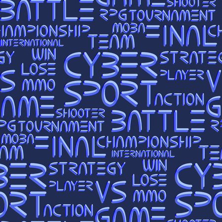 phrases: Cyber sport. Vector words and phrases related to computer games tournaments. Vector seamless pattern