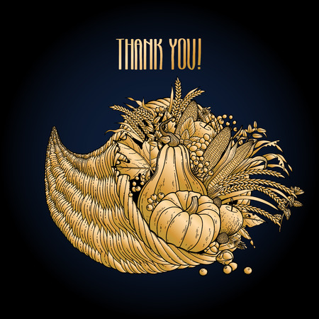 Graphic cornucopia drawn in line art style. Thanksgiving day art. Vector illustration isolated on black backdrop in golden colors. Illustration