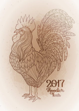 ocher: Graphic rooster drawn in line art style. Symbol of 2017 year in ocher colors. Illustration