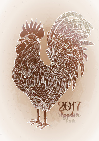 ocher: Graphic rooster drawn in line art style. Symbol of 2017 year isolated in ocher colors.