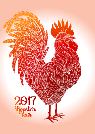 Graphic rooster drawn in line art style. Symbol of 2017 year isolated on the gradiant in red colors.