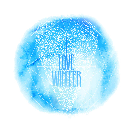 Graphic snowflakes in the shape of heart. Winter design on watercolor texture in blue colors.