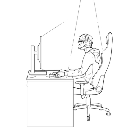 collectible: Young man sitting at the table and playing computer. Side view. Cyber sport concept. Coloring book page design for adults and kids. Illustration