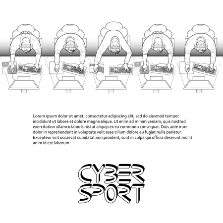 collectibles: Line of game players sitting at the desk in front of computer. Top view. Cyber sport concept. Vector endless border. Coloring book page design for adults and kids.