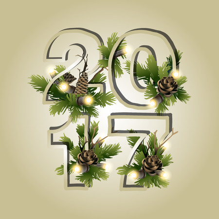 coniferous: 2017 New Year coniferous design with glowing garland. Vector holiday card.