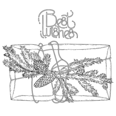 metalic texture: Gift package made of craft paper with coniferous decorations. Pine tree branches and cones. Christmas vector design isolated on white background. Coloring book page design for adults and kids. Illustration