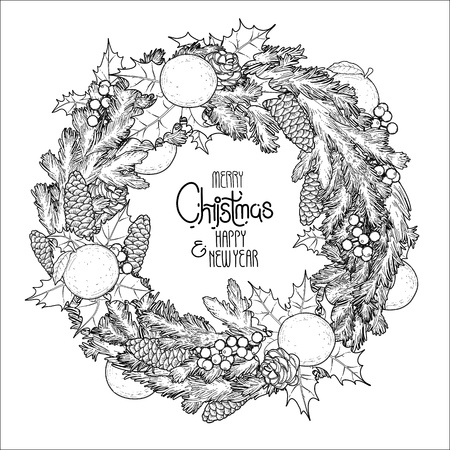 mandarins: Christmas fir wreath with mandarins and holly. Coloring book page design for adults and kids.