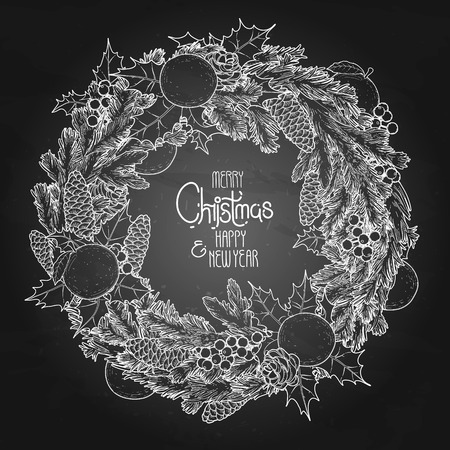 Christmas fir wreath with mandarins and holly. Vector design elements isolated on the chalkboard.