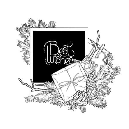 Diseño De Coníferas Navidad Con La Guirnalda Brillante Y Papel ...