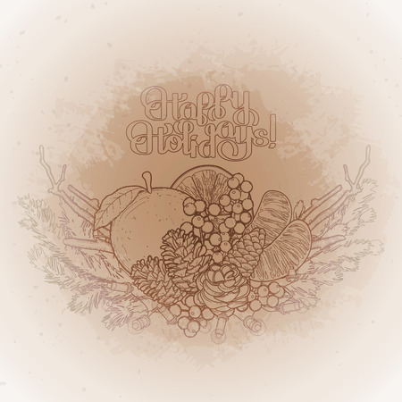 mandarins: Christmas fir vignette with mandarins, holly and dry branches. Vector design elements isolated on the vintage background in ocher colors. Illustration