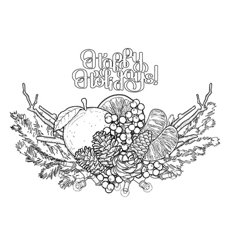 mandarins: Christmas fir vignette with mandarins, holly and dry branches. Vector holiday design dry branches. Coloring book page design for adults and kids. Illustration
