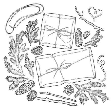 metalic texture: Collection of gift package drawn in line art style. Vector design elements isolated on white background. Coloring book page design for adults and kids.