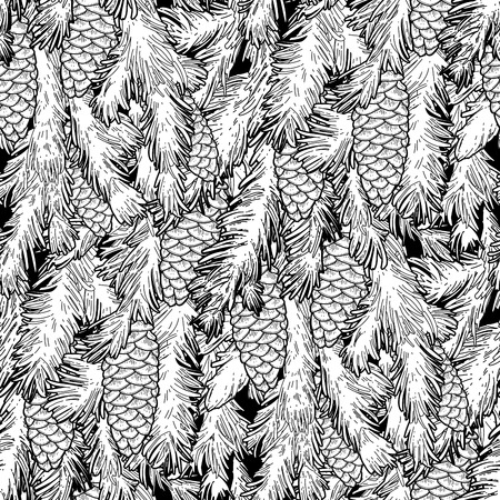 Graphic pine tree branches and cones drawn in line art style. Vector seamless pattern. Coloring page for adults and kids.