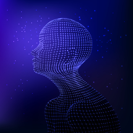 Vector human body in dark blue colors patterned with mesh. Side view. Artificial intelligence concept. Modern cyber technologies. Starry design. Illustration