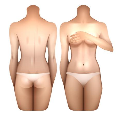Chica Europea cubriendo el cofre con su mano. Cuerpo de mujer en lencería blanca. Vistas frontal y posterior. Plantilla de vectores para el diseño del tatuaje aislado sobre fondo blanco