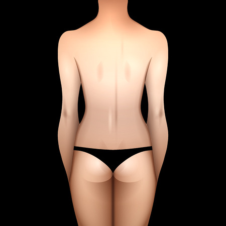 appearance: European woman body in black lingerie. Back view. Vector template for tattoo design isolated on black background Illustration