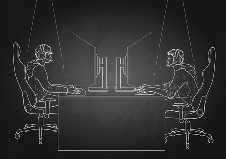 other side: Two computer players sitting at the table opposite each other. Side view. Vector participants of cyber sport tournament. Illustration