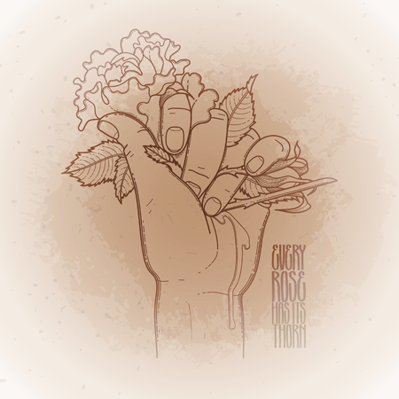 Graphic bleeding hand grasping wild rose. Vector card isolated on vintage background in ocher colors.