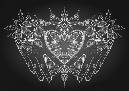 lady hand: Graphic hands folded in the shape of heart. Mehndi isolated on the chalkboard Illustration