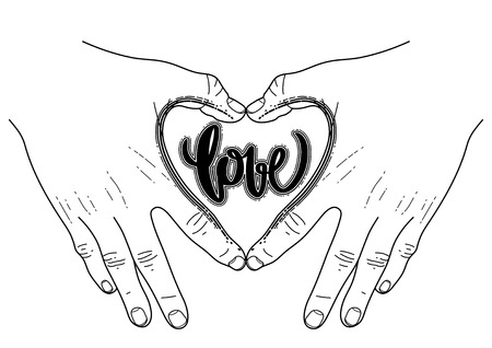 familiarity: Graphic hands folded in the shape of heart. Illustration isolated on the white background. Coloring book page design for adults and kids. Tattoo art