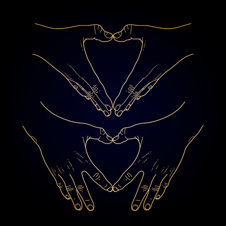 familiarity: Graphic hands folded in the shape of heart. Illustration isolated on black background in golden colors Illustration