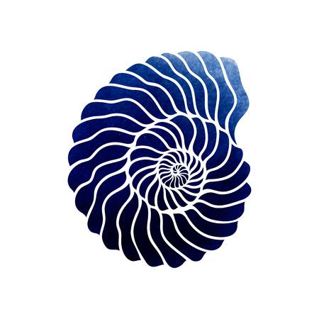 Graficzny muszla koło na białym tle. Projekt tatuażu lub t-shirt z niebieską akwarelą tekstury Ilustracje wektorowe