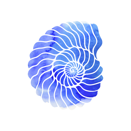 Graphic circle seashell isolated on white background. Tattoo art or t-shirt design with blue watercolor texture Illustration