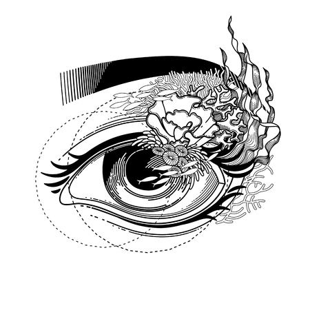 impression: Abstract graphic eye with decorated with seaweed and corals. Sacred geometry. Blackwork tattoo or t-shirt design. Vector art isolated on white background. Coloring book page for adults